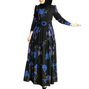 Plus size dress apparel autumn Women Long Sleeve Muslim Abaya Dress Ethnic Floral Print Belt Maxi Kaftan Robe