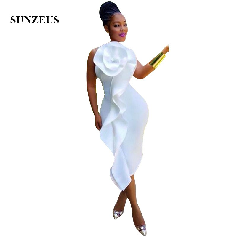 Sheath Tank Tea Length White Cocktail Dress With Big Flower African Women Party Dress Robe Cocktail