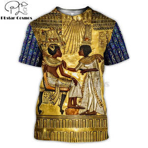 PLstar Cosmos Horus Ancient Horus Egyptian God Eye of Egypt Pharaoh Anubis face 3d t shirts tees funny Harajuku short sleeve-3(China)