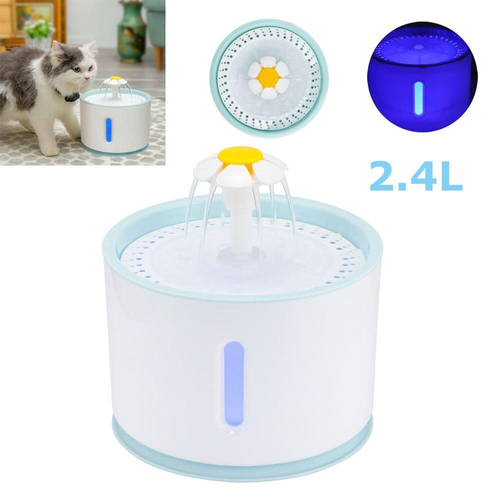 2.4L автоматический питательный фонтан для домашних животных, чаша дозатора для воды для кошек и собак, фильтры для посуды со светодиодной пи...