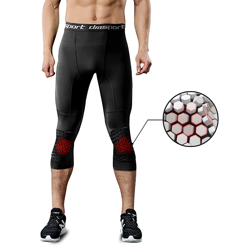 Men's Running Tight Pants Honeycomb Anti-collision Sports Knee Pads Leggings For Basketball Men Trainning Compression Pants 3/4