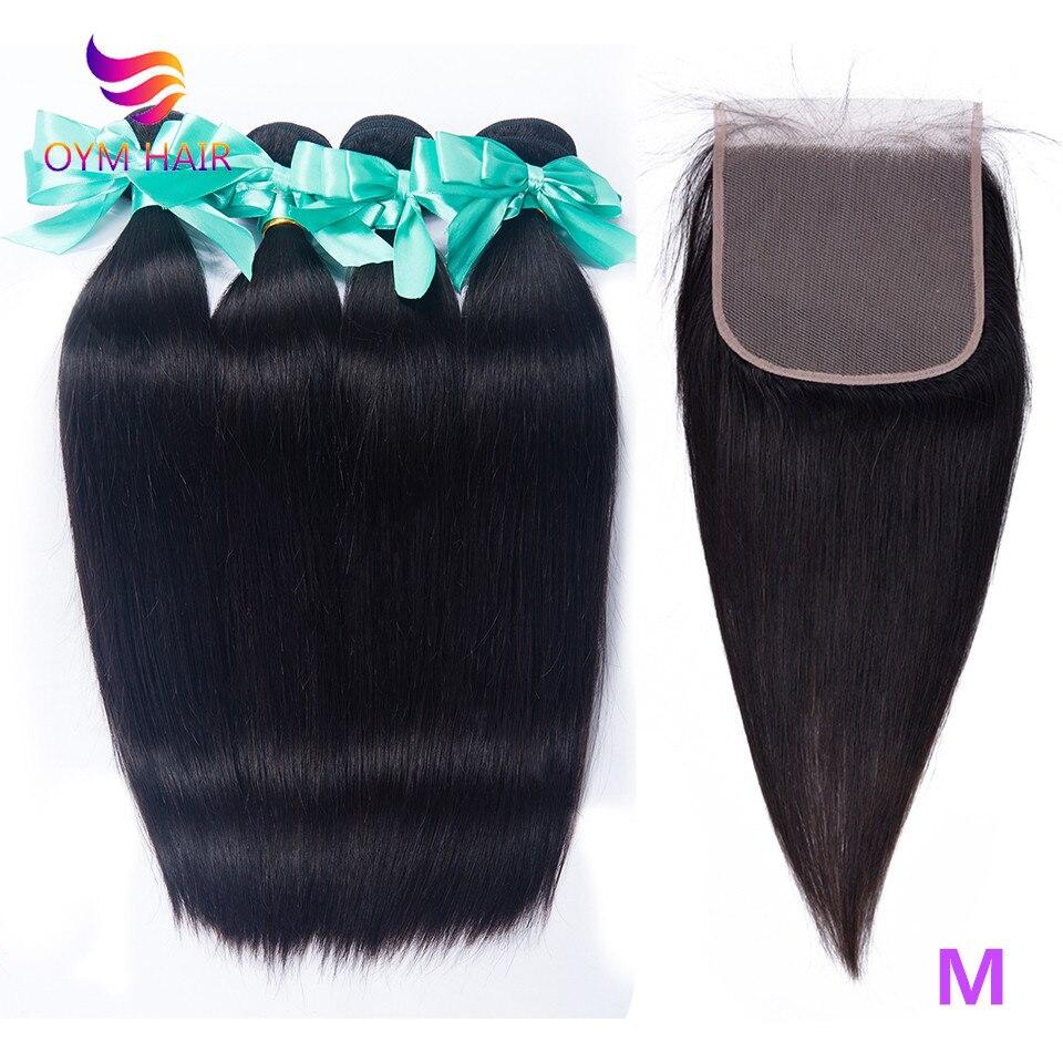 OYM HAIR Malaysian Straight Hair Bundles With 5X5 Lace Closure 100% Human Hair Bundles With Closure Non-Remy