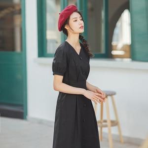 Image 3 - INMAN 2020 lato nowy nabytek literacka czysta bawełna dekolt w szpic sznurowany talia Slimmed francuski styl sukienka