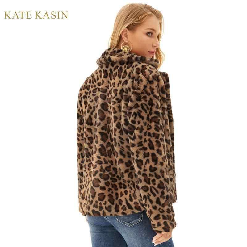Kate Kasin 2019 jesienno-zimowa kurtka ze sztucznego futra płaszcz damski z długim rękawem Leopard/solidna kurtka ze skóry jagnięcej kurtka damska znosić pluszowy płaszcz