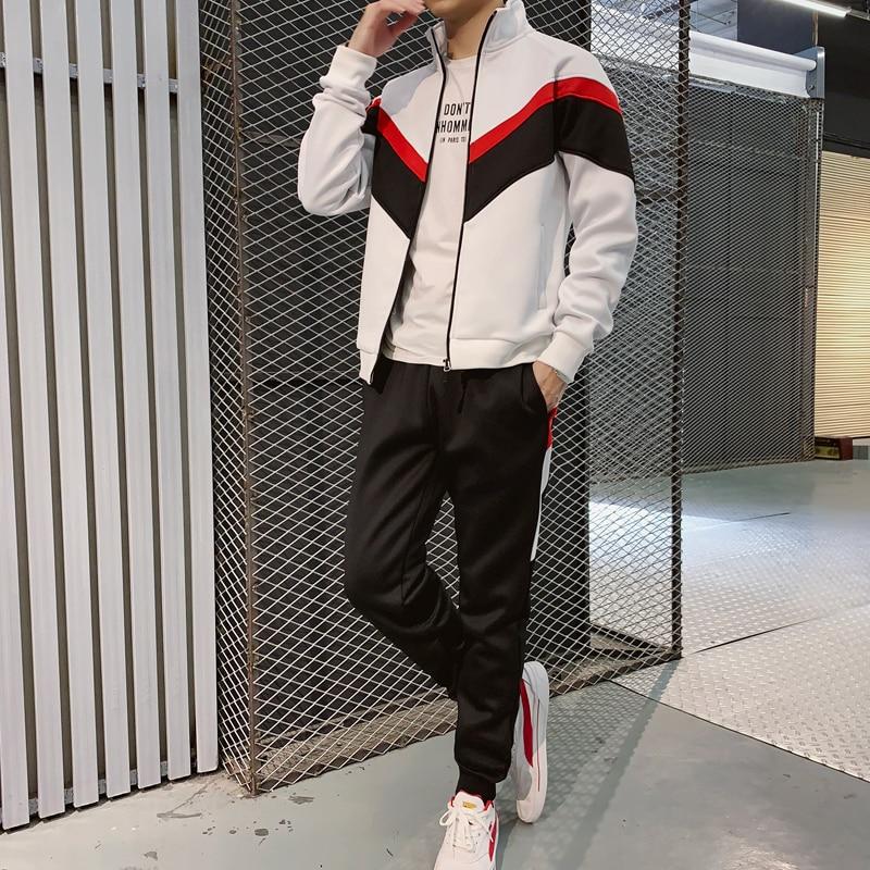 Autumn Sweatshirt Hoodie Pant 2 Piece Set Suits Streetwear Jacket+Pant Male Jacket Trousers Chandal Hombre Trainingspak Mannen