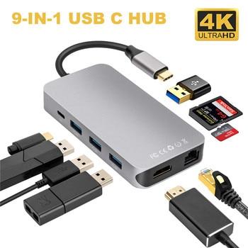 9-IN-1 USB C Hub to HDMI 4K RJ45 Enthernet LAN 1000M 4*USB 3.0 Hub Type C PD Charge USB C Thunderbolt 3 Adapter USB C HUB