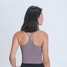 Nepoagym EMOTION Butterweichem Frauen Workout Crop Tank Bhs mit Y Strappy Zurück Longline Gym Top mit Abnehmbarer Polsterung
