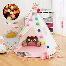 Child Portable Cotton Home Tipi Folding Indoor Children's Tent Teepee Original Triangle Indian Kids Tent Wigwam for children blue grid teepee tent for kids boys tipi tent wigwam playhouse