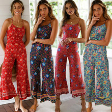 Oufisun Summer Women Jumpusit Casual Sleeveless Boho Floral Bodysuit Sexy Backle
