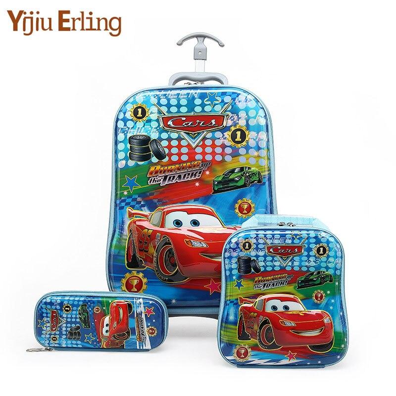 3D Kids Rolling School Bags For Girls Trolley Suitcase Children Travel Suitcase School Mochila Kid's Trolley Bags With Wheels