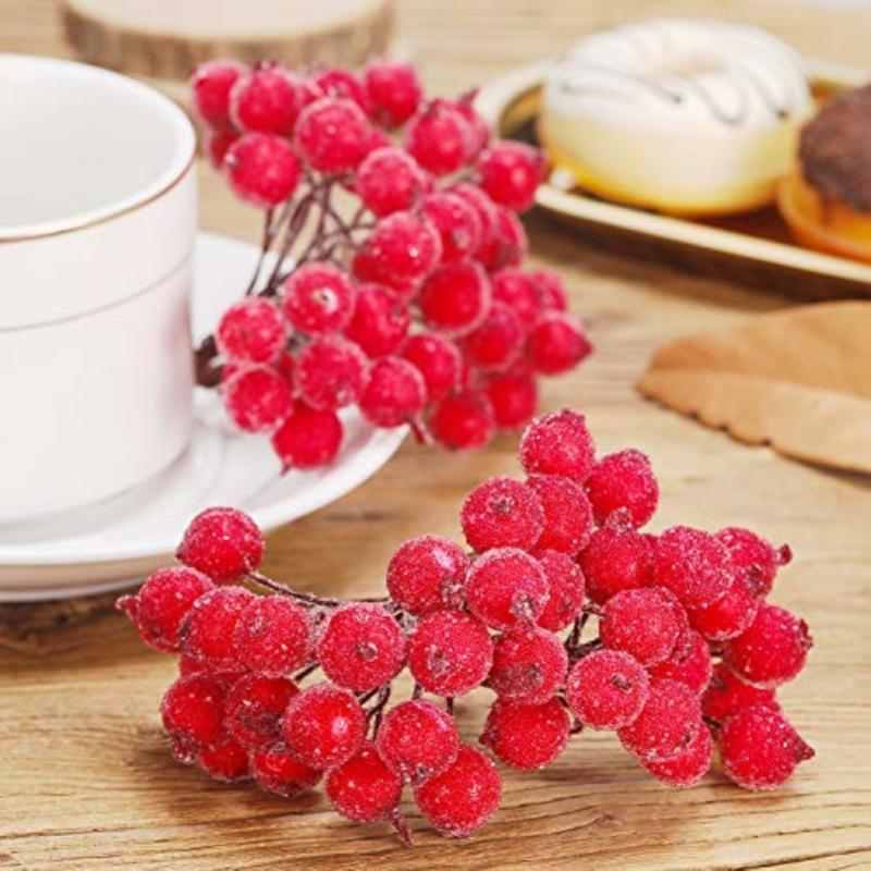 40 шт. искусственные матовые ягоды букет поддельные ягоды яркие красные ягоды Холли мини Рождество матовые Цветы вечерние декоративные