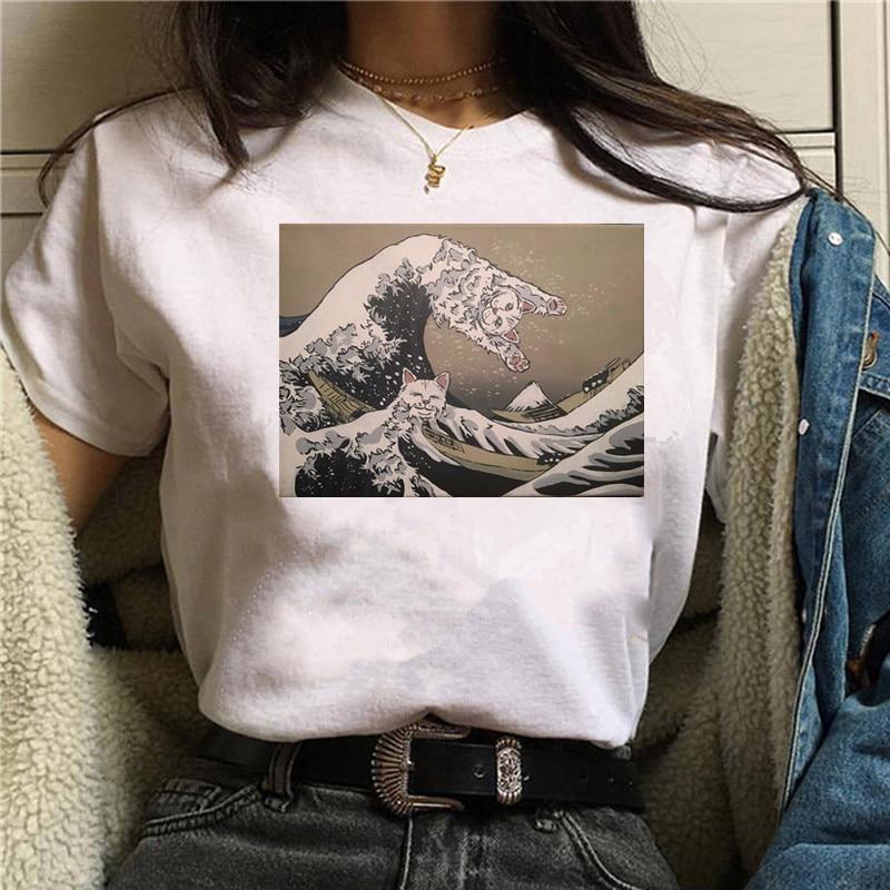 2020 Summer Great Guardian Wave Japan T Shirt Men/women Aesthetic Cute Cotton Cool Vintage Harajuku Streetwear Anime Tshirt