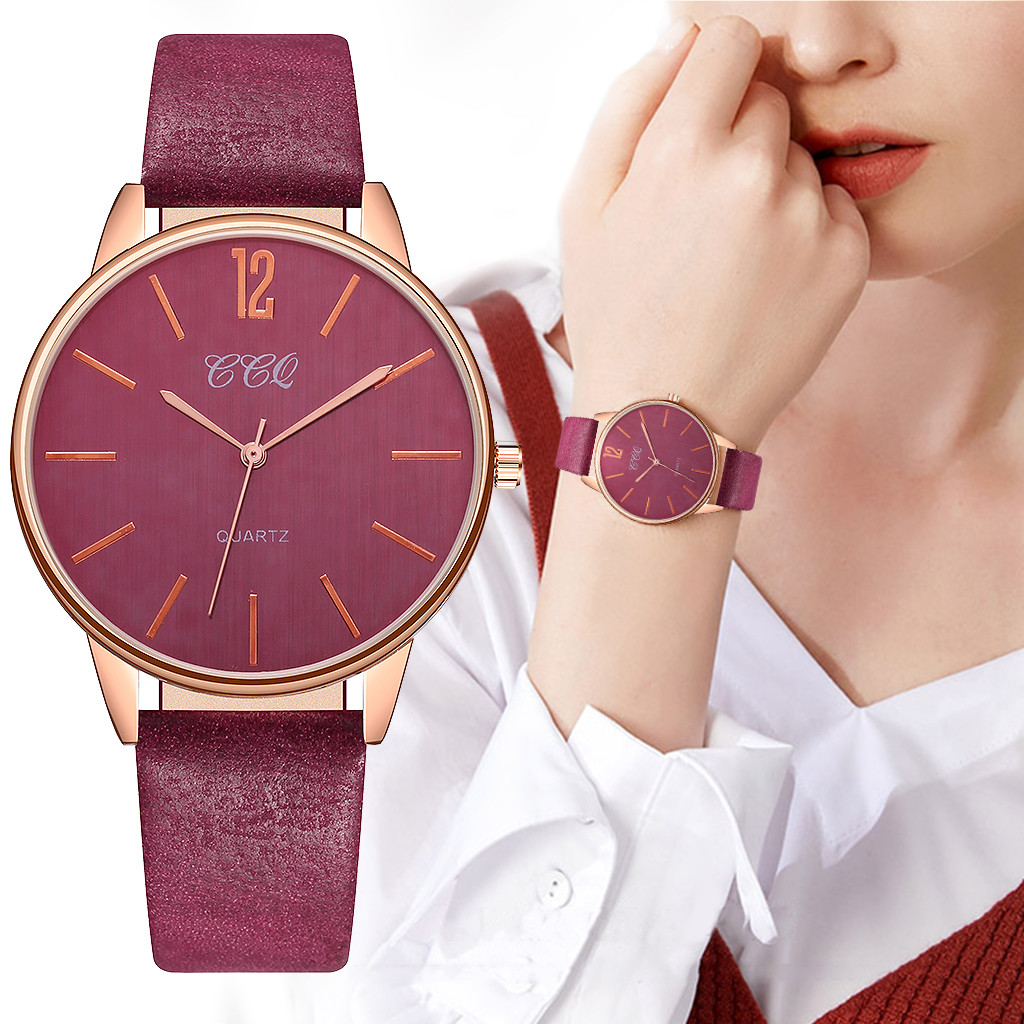 New Product Women Watches Solid Color  Dial Ladies Fashion Quartz Wristwatch Leather Strap Clock Casual Gift Reloj Mujer @50