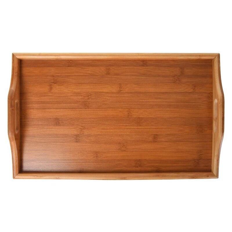 Натуральный Бамбуковый поднос для сервировки завтрака с ручкой, сервировка завтрака в кровати или использование в качестве ТВ-стола складная кровать стол для ноутбука-5