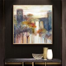 Pintura al óleo del paisaje de los árboles y los lagos de la vendimia sobre lienzo Cuadros Posters e impresiones de arte de la pared para la sala de estar