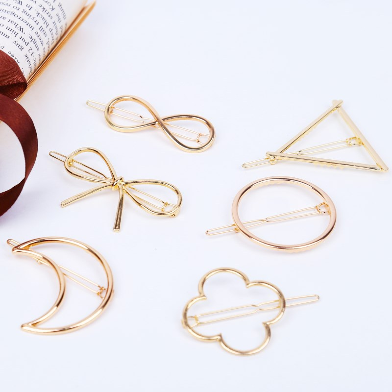 Fashion  Girls Hair Accessories Triangle Hair Clip Pin Metal Geometric Hairband Moon Circle Hairgrip Barrette Ponytail Girls