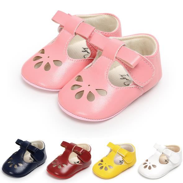 New Hot Sale Hollow First Walkers Anti-slip Pu Leather Crib Girls Boys Sneakers Hard Sole Cute Bow Baby Shoes