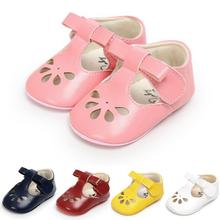 New Hot sale Hollow first walkers Anti-slip Pu leather crib Girls Boys Sneakers Hard sole Cute bow