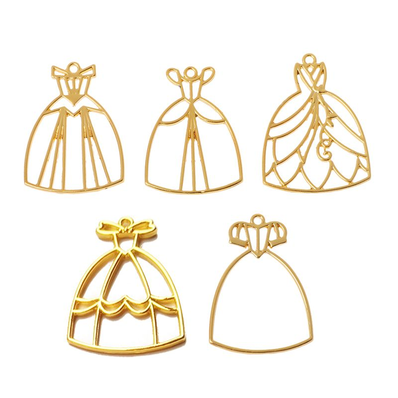 5Pcs Princess Dress UV Resin Blank Frame Pendant Bezel Cabochon Jewelry Making Y4QB