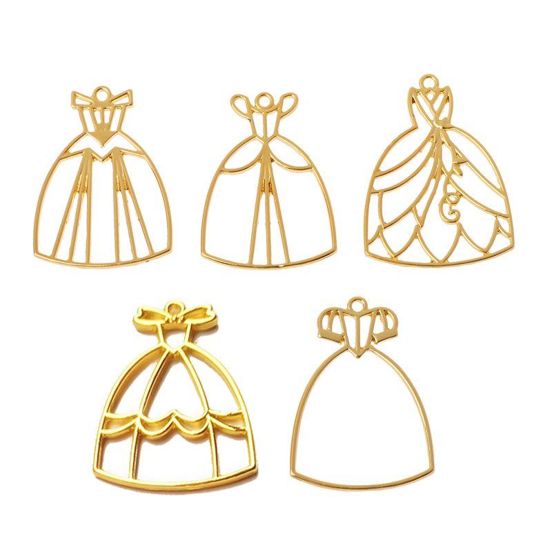 5Pcs Princess Dress UV Resin Blank Frame Pendant Bezel Cabochon Jewelry Making Y4QB