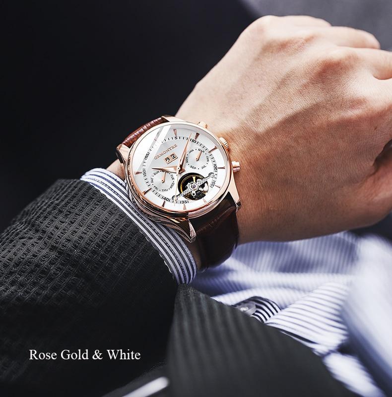 Hf393761641c244dfab79fba5c96a0311l Skeleton Tourbillon Mechanical Watch Men Automatic Classic Rose Gold Leather Mechanical Wrist Watches Reloj Hombre 2018 Luxury