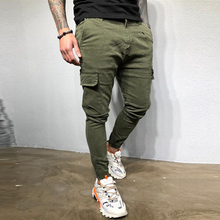Multi Pockets Men Solid Color Cargo Pants Mid Waist Casual Male Pencil Army Green Black Trousers Man Fashion Clothing D30