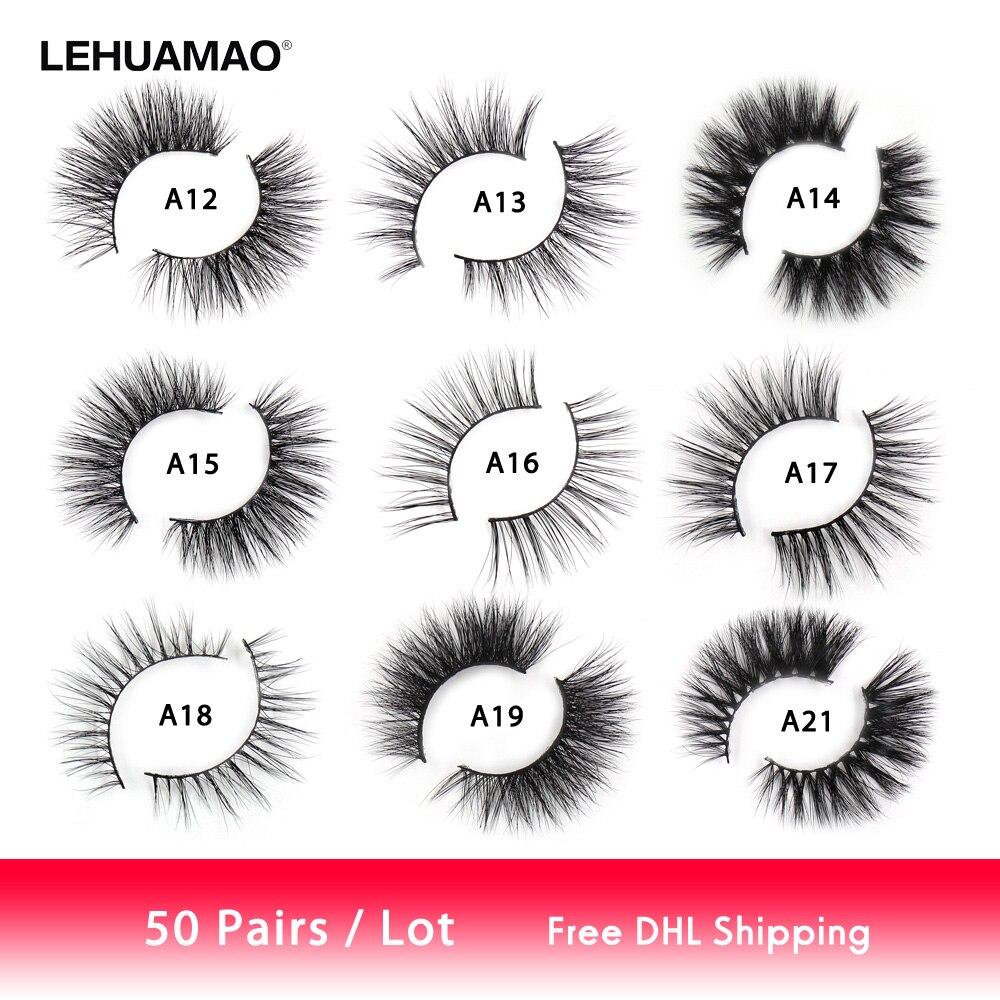 lehuamao 50 pares cilios vison 3d mink lashes atacado mix cilios posticos naturais fofo cruelty free