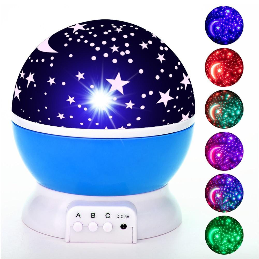 Starry Lights LED Projector Star Moon Night Light Sky Rotating Bedroom Lamp Baby