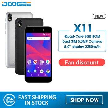 Перейти на Алиэкспресс и купить Doogee X11 смартфон 5,0 дюйм1 ГБ ОЗУ 8 Гб ПЗУ MTK6580 четырехъядерный Android 8,1 2250 мАч 5.0MP две sim-карты WIFI GPS 3G WCDMA мобильный телефон