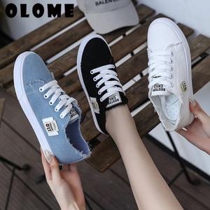 Image 1 - Spring Summer Women Sneakers Flat Platform Loafers Vulcanize Female Summer Canvas Shoes men canvas shoes Denim Casual Shoes