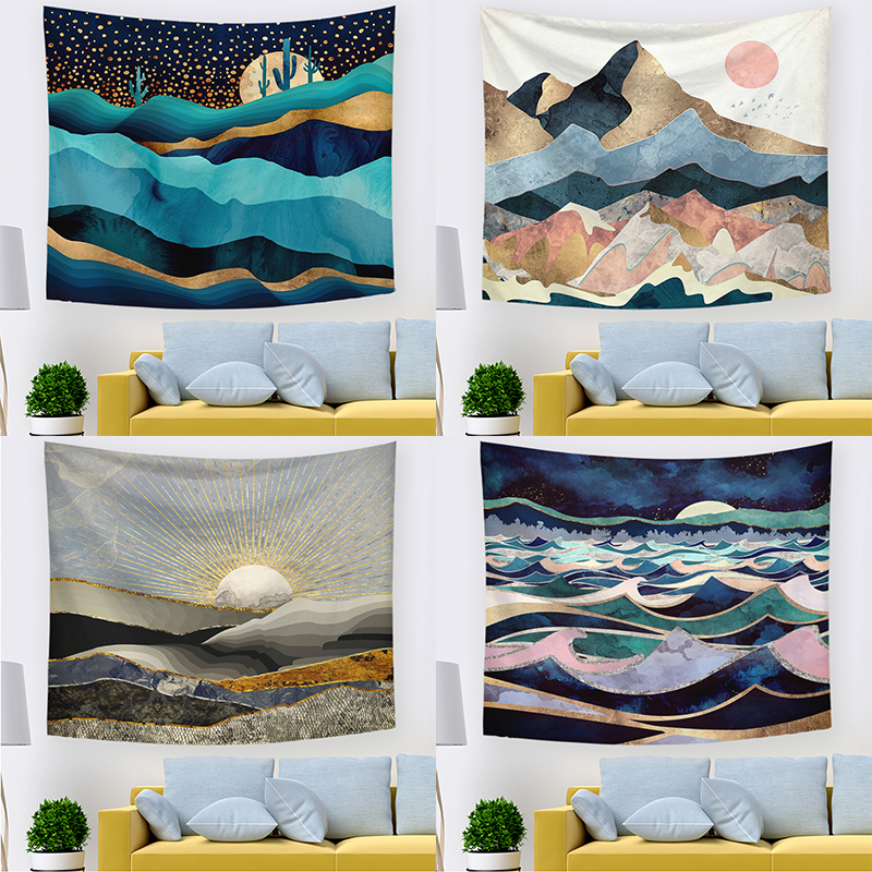 Fashion 1PC Wall Hanging Tapestry Tenture Bohemian Custom High Quality Landscape Sunset Farmhouse Tapiz Tapisserie Decoration image