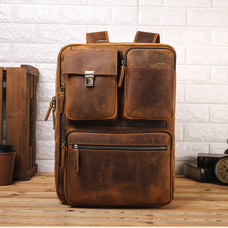 Retro Brown Men's Real Leather 15.6''Laptop Backpack Shoulder Bag Travel Handbag