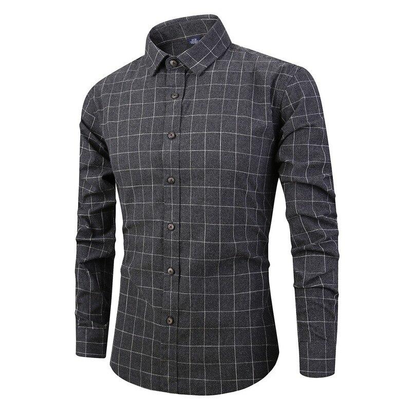 Хит продаж, Новинка осени 2019, модная повседневная полированная клетчатая рубашка с длинным рукавом, мужские хлопковые рубашки