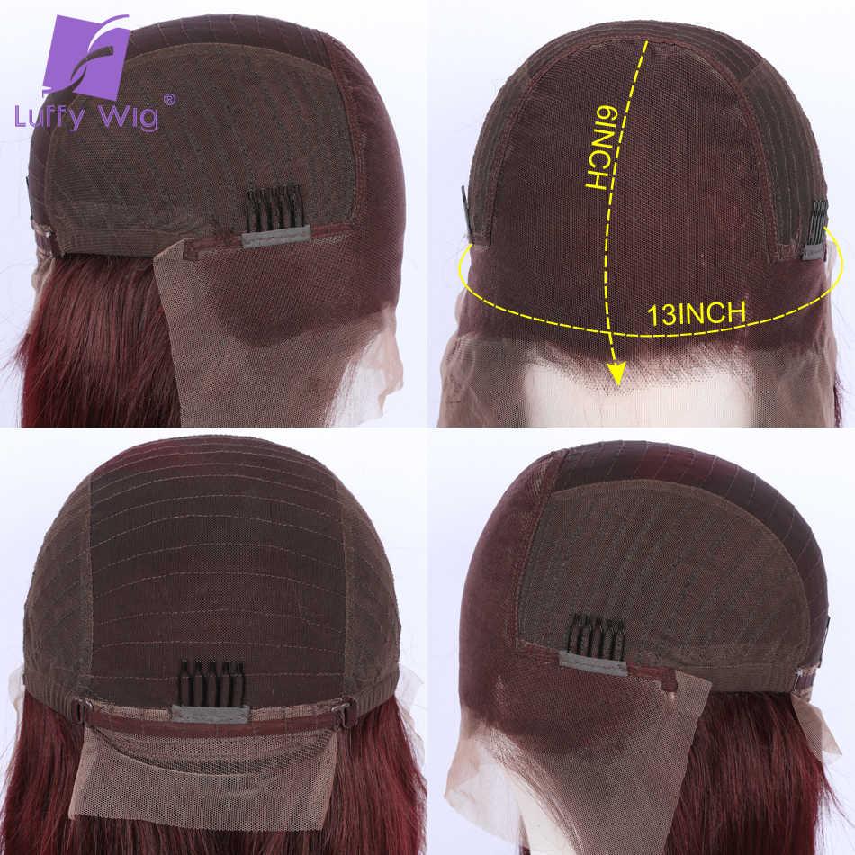 Ombre 1b/99j kolorowe luźne fale 13x6 koronki przodu włosów ludzkich peruk 150 180 gęstość z dzieckiem włosy wstępnie oskubane brazylijski Remy LUFFY