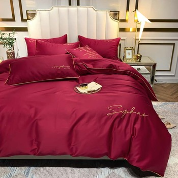 4pcs Classic RED Bedding Set Includes Duvet Cover Flat Sheet Fitted Sheet Pillowcases Without Filler 100% 60S Cotton