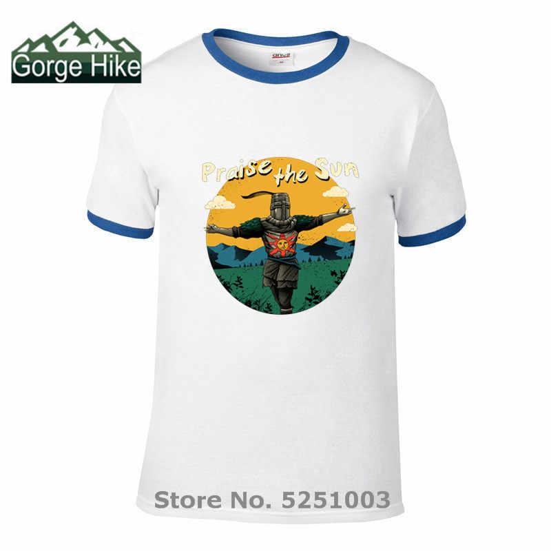 Uomini T-ShirtsThe Suono di Dark Souls lode il sole Stampa T Shirt 100% Cotone di Sesso Maschile Girocollo Manica Corta camicia casual top Vestire