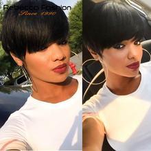 Rebecca волосы темно-коричневые прямые волосы короткий парик машина сделано бразильские человеческие волосы парики для черных женщин цвет#2