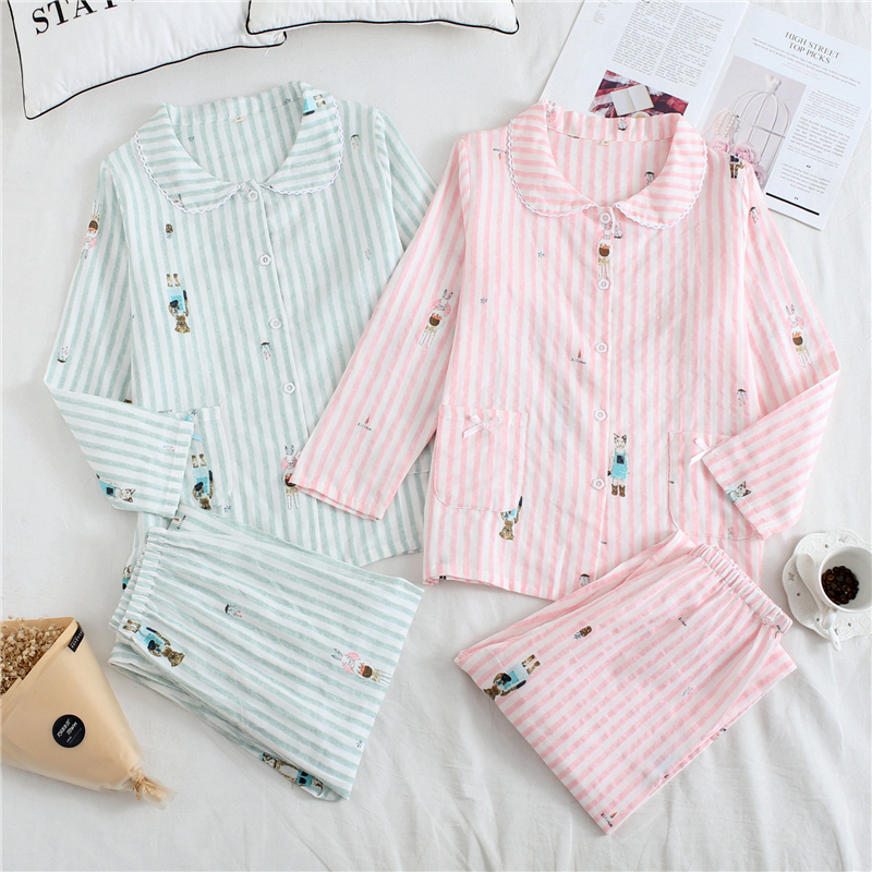 2020 Summer New Japanese Cotton Double Gauze Pajamas Women's Cotton Loose Stripes Long Sleeve Housewear Suit
