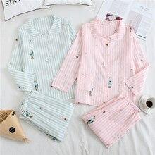 Pajamas Housewear-Suit Japanese Stripes Cotton Women's Long-Sleeve Summer New Loose Double-Gauze