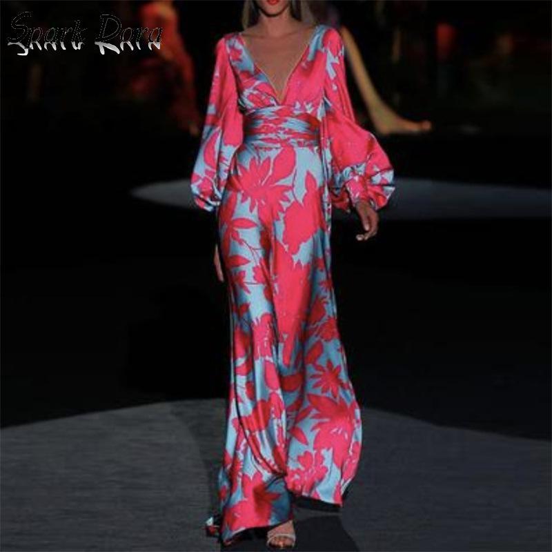 Dresses Woman Party Night New Fashion Printing Lantern Sleeve V neck Elegant Dress Sexy Dress Collect Waist Hit Color Vestidos|Dresses| - AliExpress