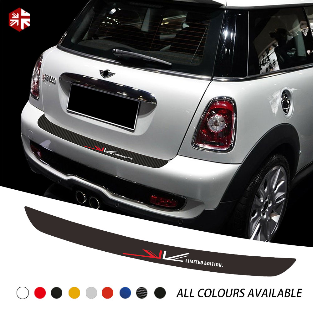 Union Jack Car Rear Bumper Trunk Load Edge Protection Guard Trim Decal Sticker For MINI Cooper S R56 R57 One JCW Accessories