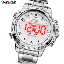 WEIDE Watches Mens LED Analog Dual Display Alarm Back Light Sports Military Watch Big Dial Stainless Steel Strap Quartz Watch weide brand big dial army military japan quartz watch movement analog digital display water resistant leather strap alarm clock
