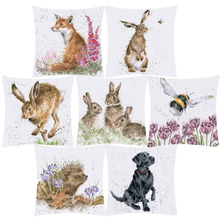 Чехол для подушки с изображением животных, лисы, кролика, кролика, летающей пчелы, ежика, цветок, полиэстер, чехол для подушки, украшение дивана