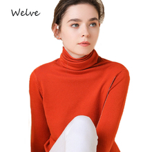 Welve Sweater wool in  Womens pollovers Warm turtleneck sweater Long Sleeve Sweaters Temperament cashmere