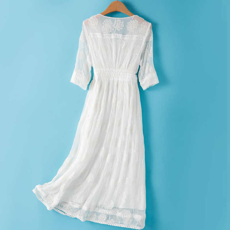 100% echte Seide Sommer Kleid 2020 Vintage Elegante Maxi Kleid Frauen Kleidung Damen Kleider Koreanische Weiß Frauen Kleid Vestidos