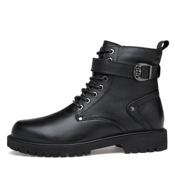 CLAXNEO Man Boots High Top Autumn Male Motorcycle Boot Genuine Leather Men's Shoe Winter Footwear Fur Warm Big Size 1
