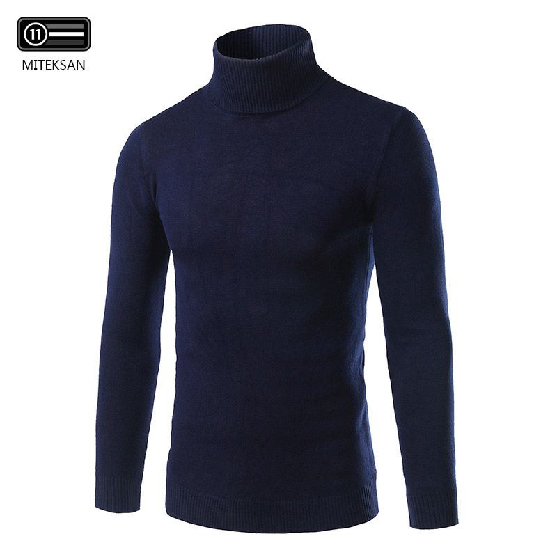 Men Sweaters Pullovers Turtleneck Long-Sleeve Warm Autumn Winter Plus-Size New Slim Solid