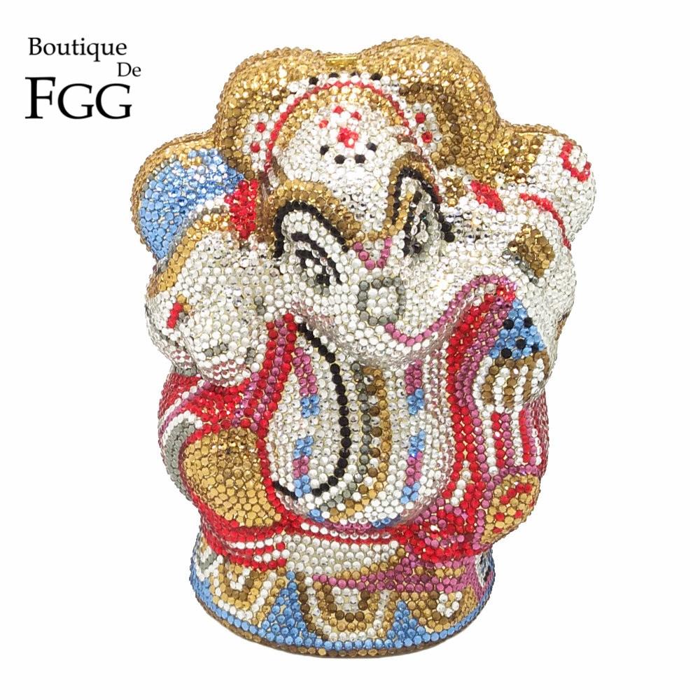 Boutique De FGG Thai Buddhist Elephant Women Crystal Evening Clutch Bag Wedding Party Minaudiere Handbag Purse Metal Clutches