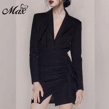 Женское атласное платье max spri черное официальное с длинными