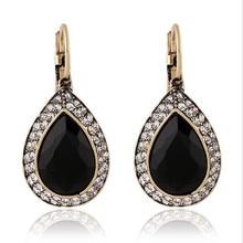 vintage Bohemian style black stone earrings water drop women's drop earrings 2.2*1.6cm one pair xye228